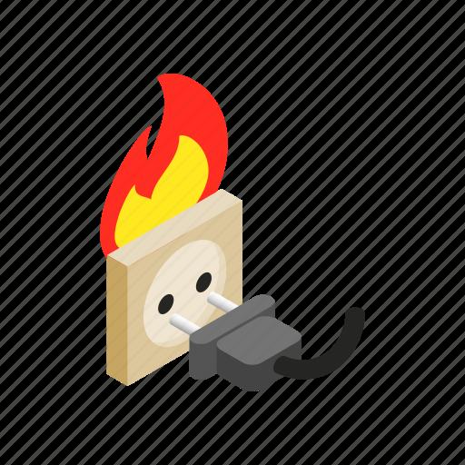 burn, electric, energy, fire, isometric, power, socket icon