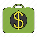 briefcase, cash, dollar, ransom icon