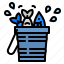 bucket, fish, fishing, hobby, tool icon