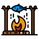 fish, grill, cook, fire, food
