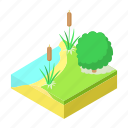 bank, cartoon, drawing, fishing, nature, place, river icon