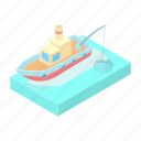 boat, cartoon, catch, fishing, nautical, ship, water icon