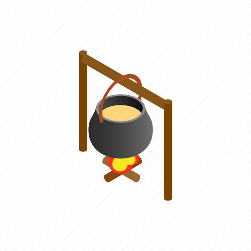 campfire, cooking, food, hot, isometric, outdoor, pot icon