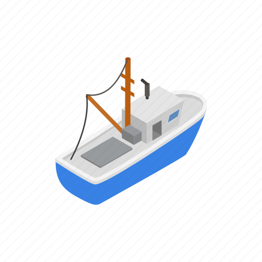 boat, fishing, isometric, sea, ship, vessel, water icon