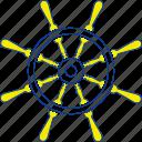 nautical, retro, ship, steering, thin, vintage, wheel icon
