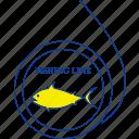 animal, fishing, ocean, sea, thin, water, white icon