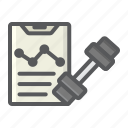 fitness, gym, list, plan, program, sport, training icon