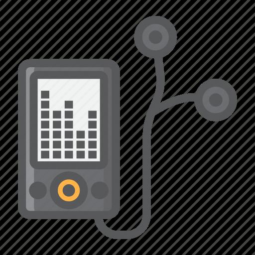audio, device, earphones, listen, mp, music, player icon