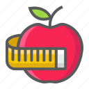 apple, diet, fitness, health, measuring, sport, tape icon