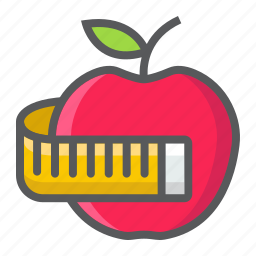 apple, diet, fitness, health, measuring, sport, tape icon