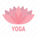 fitness, flower, health, leaf, lotus, yoga icon