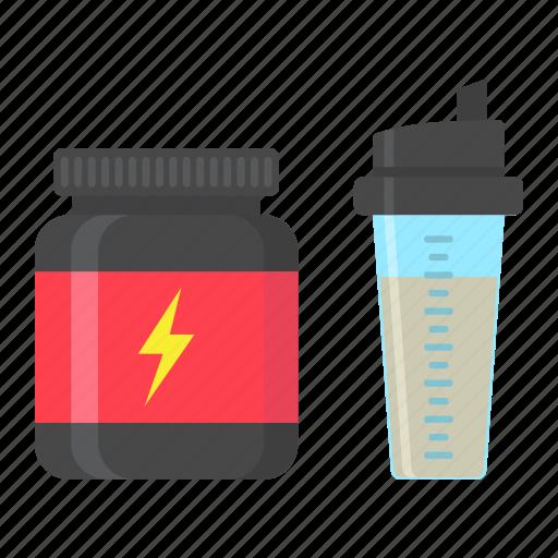bodybuilding, energy, fitness, protein, shaker, sport, whey icon