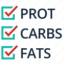 ating plan, carbohydrate, diet, fat, fitness, protein, timetable icon