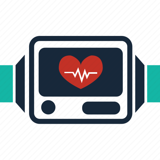 cardiogram, fitness, heartbeat, pulse, timer, watch, wristwatch icon