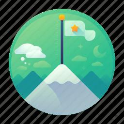 climb, mountain, sucess, win icon