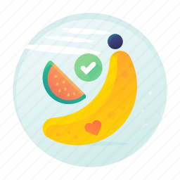 banana, diet, fitness, fruits, melon icon