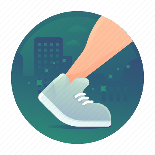fitness, shoes, steps, walking icon