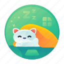 cat, nap, rest, sleep icon