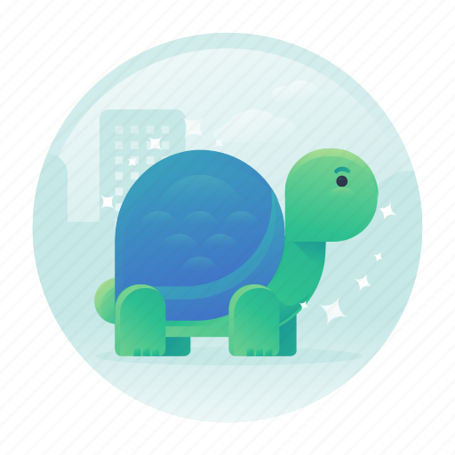 Cute, gradient, slow, turtle icon