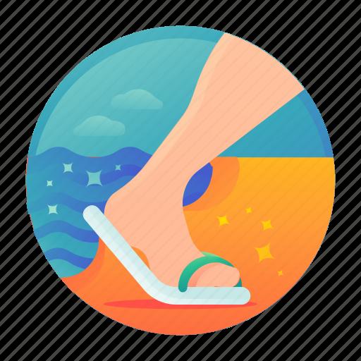 Beach, flip flop, walk icon - Download on Iconfinder