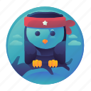 bird, night, owl, resting icon