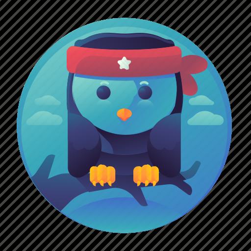 bird, night, owl, resting icon