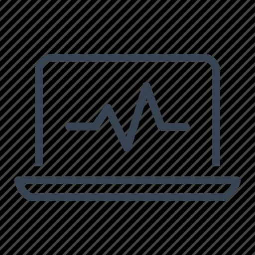 computer, heartbeat, laptop, pulse, sport, website icon