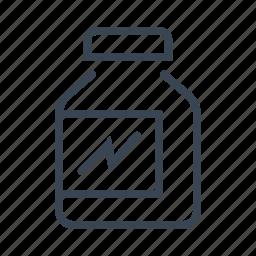 bodybuilding, jar, powder, protein icon