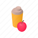 apple, bottle, cartoon, clean, container, drink, water