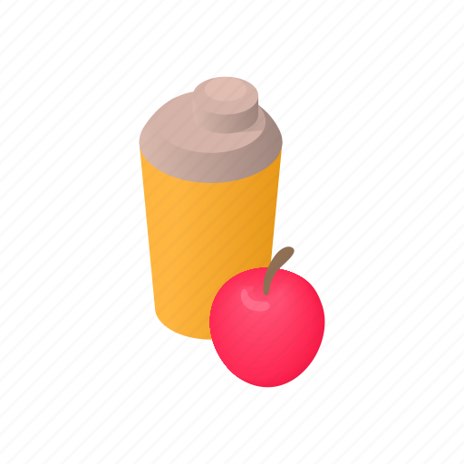apple, bottle, cartoon, clean, container, drink, water icon