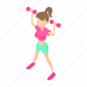 cartoon, dumbbells, female, fitness, girl, sport, woman icon