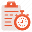 clipboard, equipment, fitness, gym, sport, stopwatch, workout icon