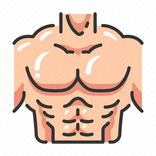 Body chest. Fitness filled outline
