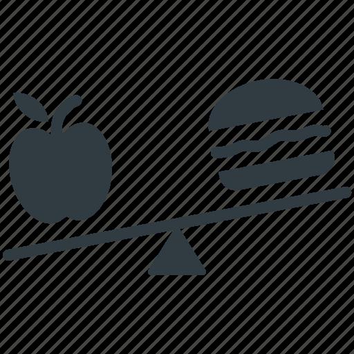 apple, burger, diet comparison, healthy nutrition, seesaw icon