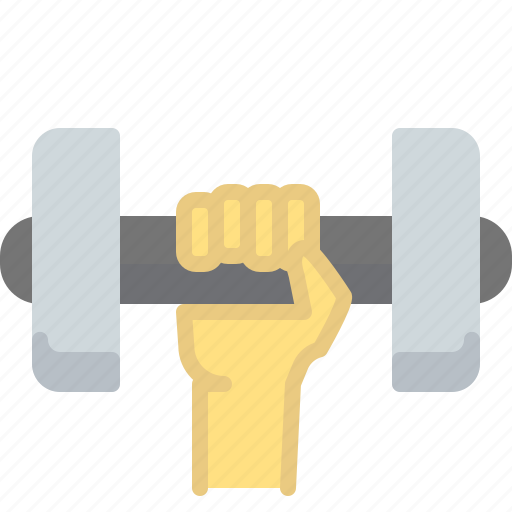 fitness, hand, heavy, muscle, weight icon