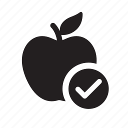 apple, check mark, diet, fruit, healthy, healthy eating, organic icon