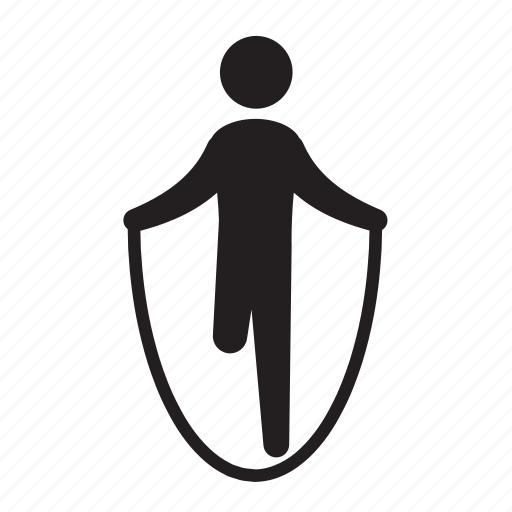 athlete, exercise, fitness, health, jumping rope, man, stick figure icon