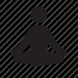 budha, fitness, health, lotus pose, sitting, stick figure, yoga icon