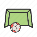 field, football, goal, green, net, soccer, stadium icon