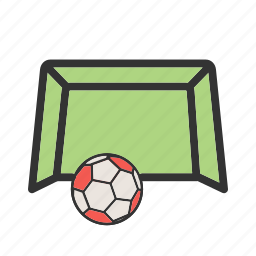 field, football, goal, green, net, soccer, stadium icon