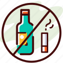 avoid, drink, no drinking, prohibition, smoking, stop
