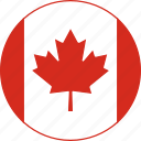 canada, circle, country, emblem, flag, national icon