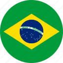 brasil, brazil, circle, country, flag, national icon