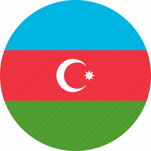 azerbaijan, circle, country, emblem, flag, national icon