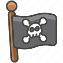 1f3f4, flag, pirate icon
