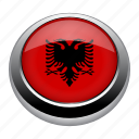 albania, badge, country, flag, nation, national icon