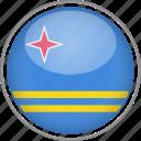 aruba, circle, country, flag, national