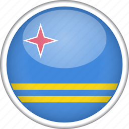 aruba, circle, country, flag, national icon