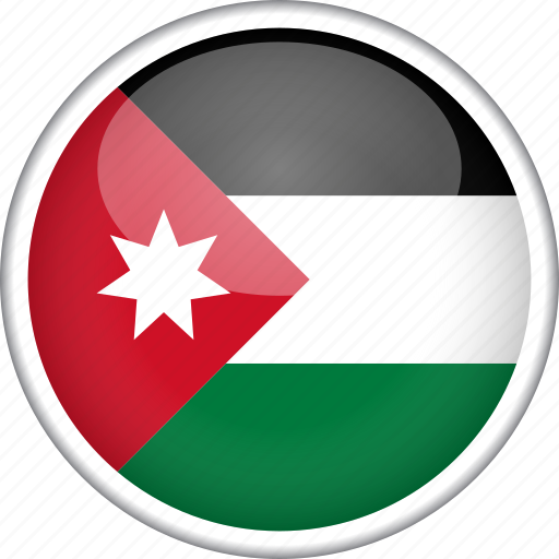circle, country, flag, jordan, national icon