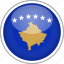 circle, country, flag, kosovo, national icon